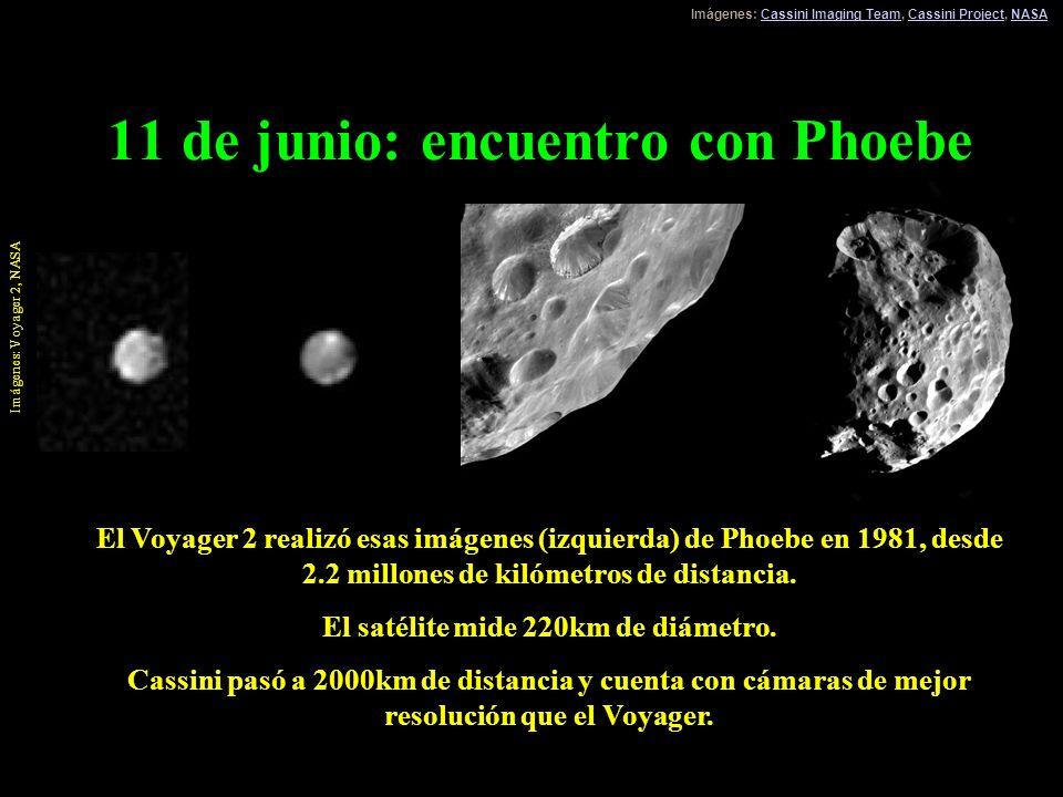 11 de junio: encuentro con Phoebe El Voyager 2 realizó esas imágenes (izquierda) de Phoebe en 1981, desde 2.2 millones de kilómetros de distancia. El
