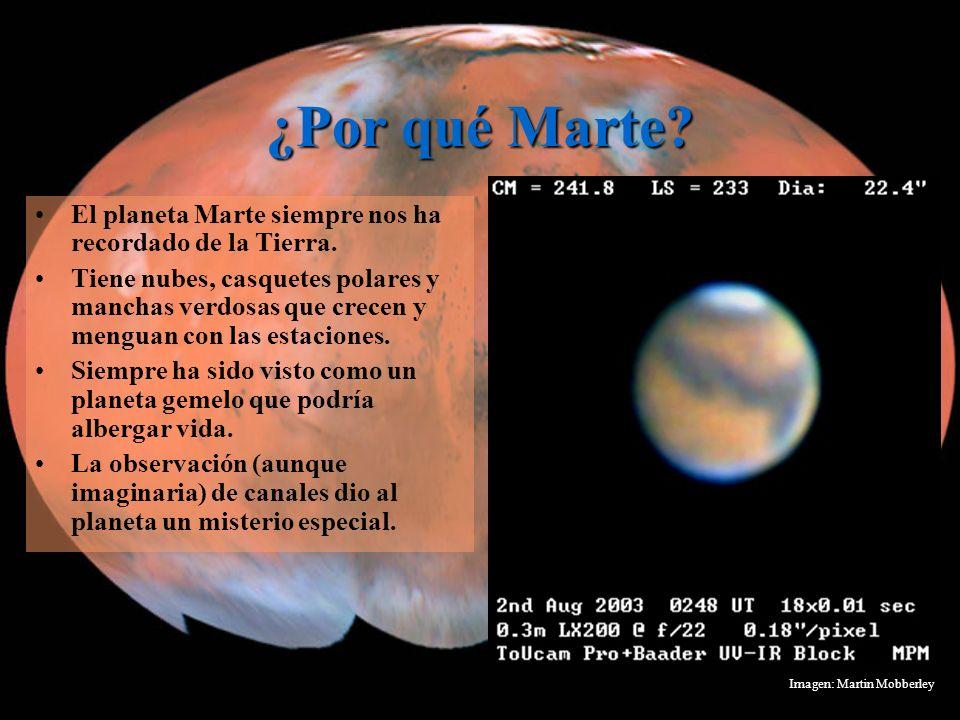 ¿Por qué Marte? El planeta Marte siempre nos ha recordado de la Tierra. Tiene nubes, casquetes polares y manchas verdosas que crecen y menguan con las