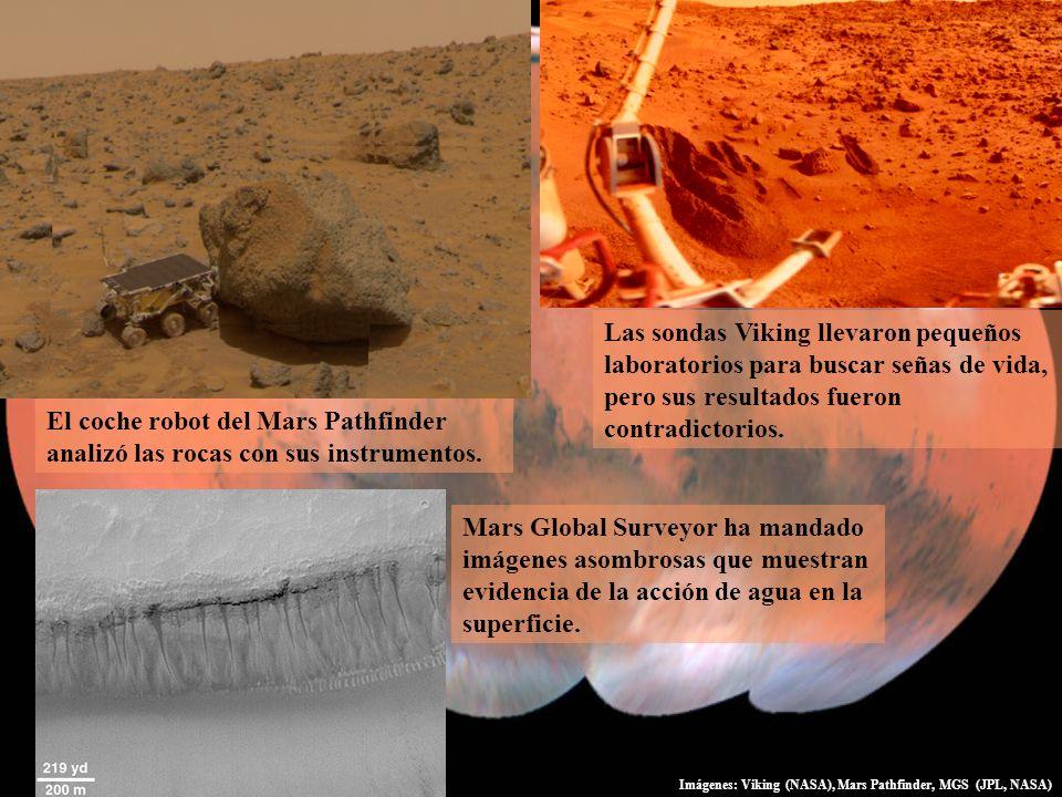 Las sondas Viking llevaron pequeños laboratorios para buscar señas de vida, pero sus resultados fueron contradictorios. El coche robot del Mars Pathfi