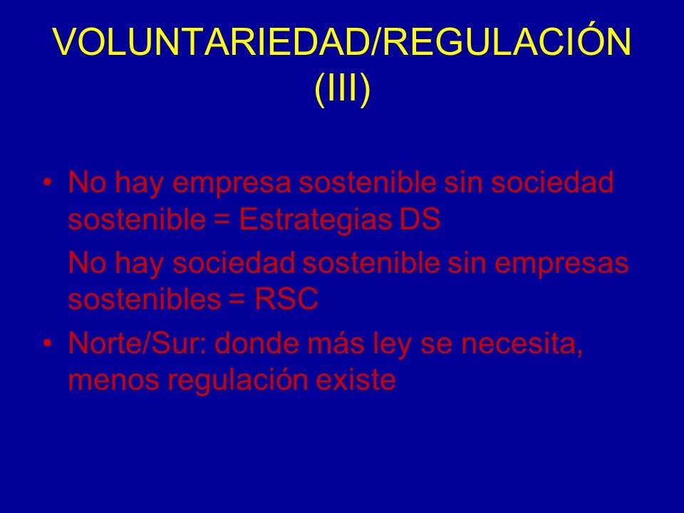 VOLUNTARIEDAD/REGULACIÓN (III) No hay empresa sostenible sin sociedad sostenible = Estrategias DS No hay sociedad sostenible sin empresas sostenibles = RSC Norte/Sur: donde más ley se necesita, menos regulación existe