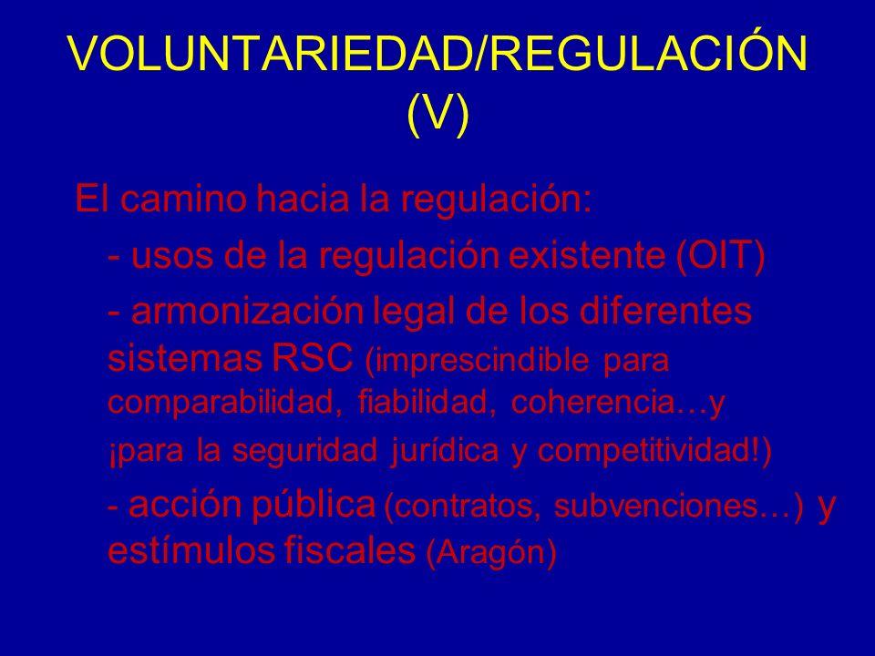 VOLUNTARIEDAD/REGULACIÓN (V) El camino hacia la regulación: - usos de la regulación existente (OIT) - armonización legal de los diferentes sistemas RSC (imprescindible para comparabilidad, fiabilidad, coherencia…y ¡para la seguridad jurídica y competitividad!) - acción pública (contratos, subvenciones…) y estímulos fiscales (Aragón)