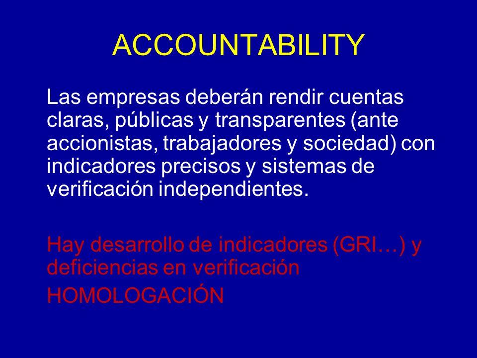 ACCOUNTABILITY Las empresas deberán rendir cuentas claras, públicas y transparentes (ante accionistas, trabajadores y sociedad) con indicadores precisos y sistemas de verificación independientes.