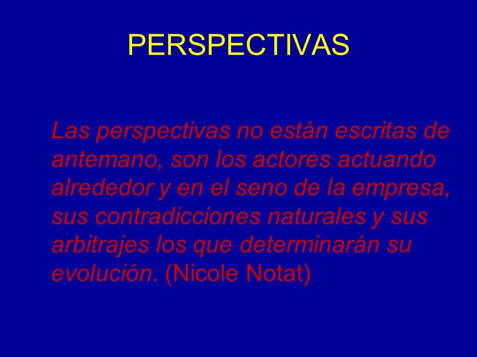 PERSPECTIVAS Las perspectivas no están escritas de antemano, son los actores actuando alrededor y en el seno de la empresa, sus contradicciones naturales y sus arbitrajes los que determinarán su evolución.