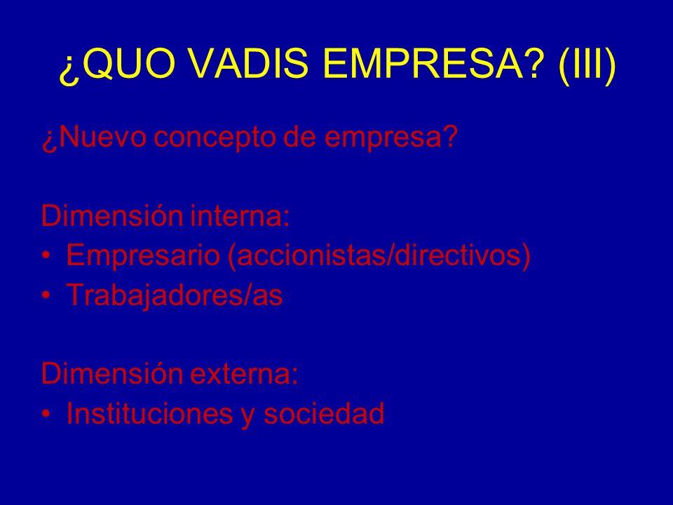 ¿QUO VADIS EMPRESA. (III) ¿Nuevo concepto de empresa.