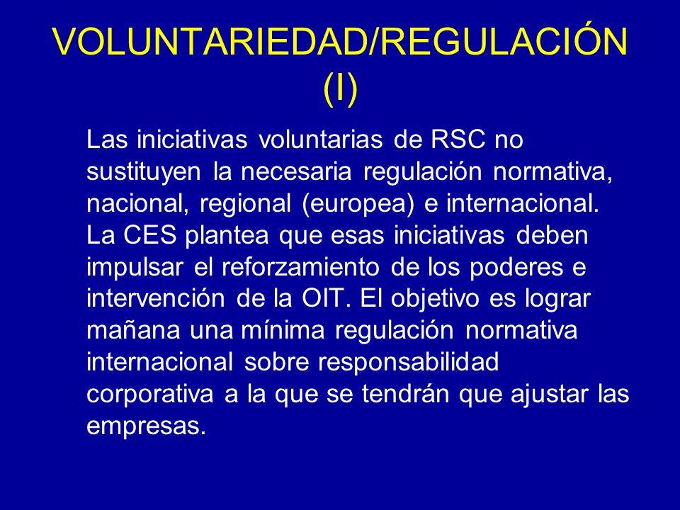 VOLUNTARIEDAD/REGULACIÓN (I) Las iniciativas voluntarias de RSC no sustituyen la necesaria regulación normativa, nacional, regional (europea) e internacional.