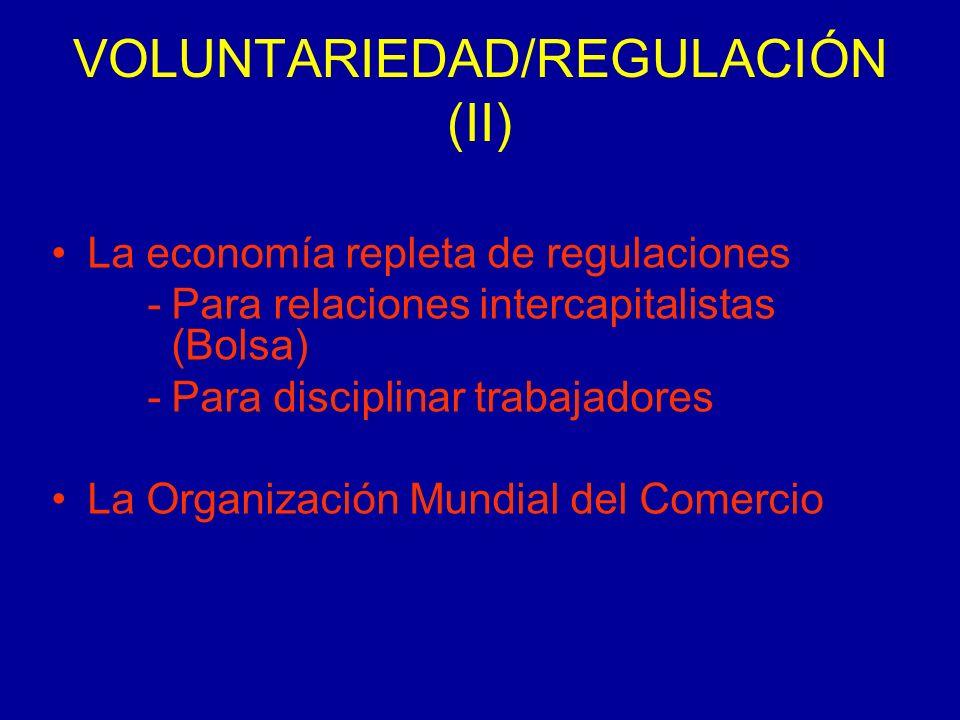 VOLUNTARIEDAD/REGULACIÓN (II) La economía repleta de regulaciones -Para relaciones intercapitalistas (Bolsa) -Para disciplinar trabajadores La Organización Mundial del Comercio