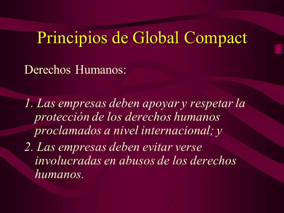 Definiciones – Global Compact Secretario General UN - 1999 Non hay una definición expresa Tratase de una iniciativa de adhesión voluntaria Non hay una obligación de hacer, pero una fuerte obligación moral de observar los principios que siguen y los cuales expresan la esencia de Global Compact