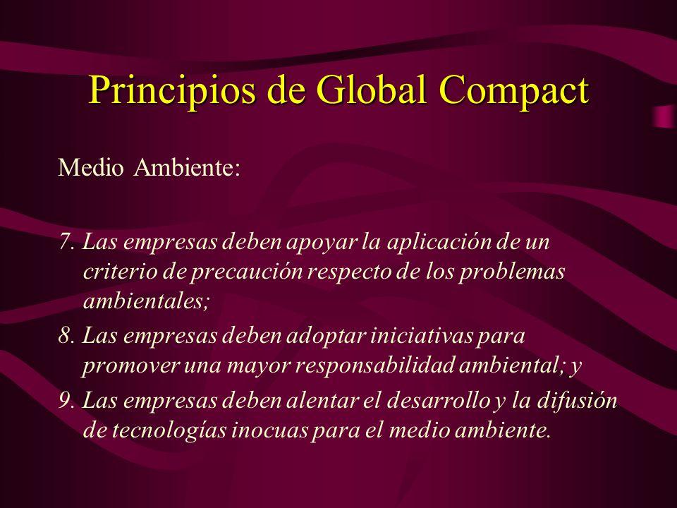 Principios de Global Compact Normas Laborales: 3.