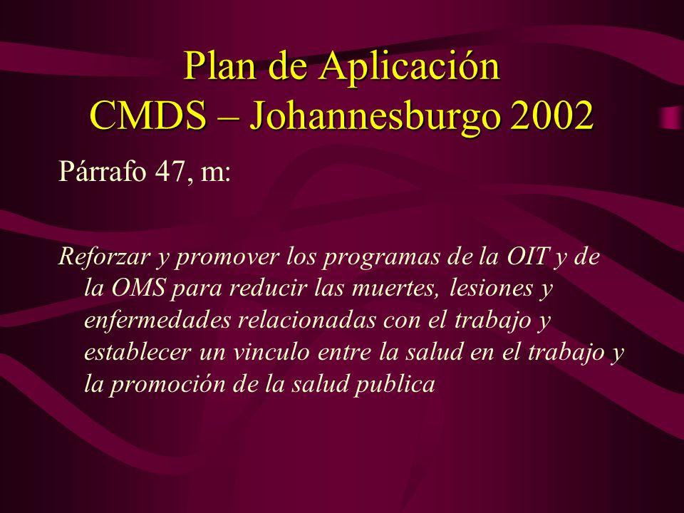 Plan de Aplicación CMDS – Johannesburgo 2002 Cap. V – El desarrollo sostenible en un mundo en vías de globalización Párrafo 49 – Promover activamente