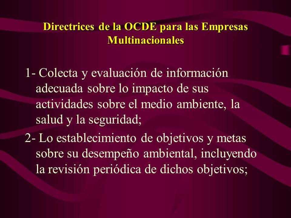 Directrices de la OCDE para las Empresas Multinacionales Garantía de que la empresa disponee información sobre los principios o reglas de conducta, in