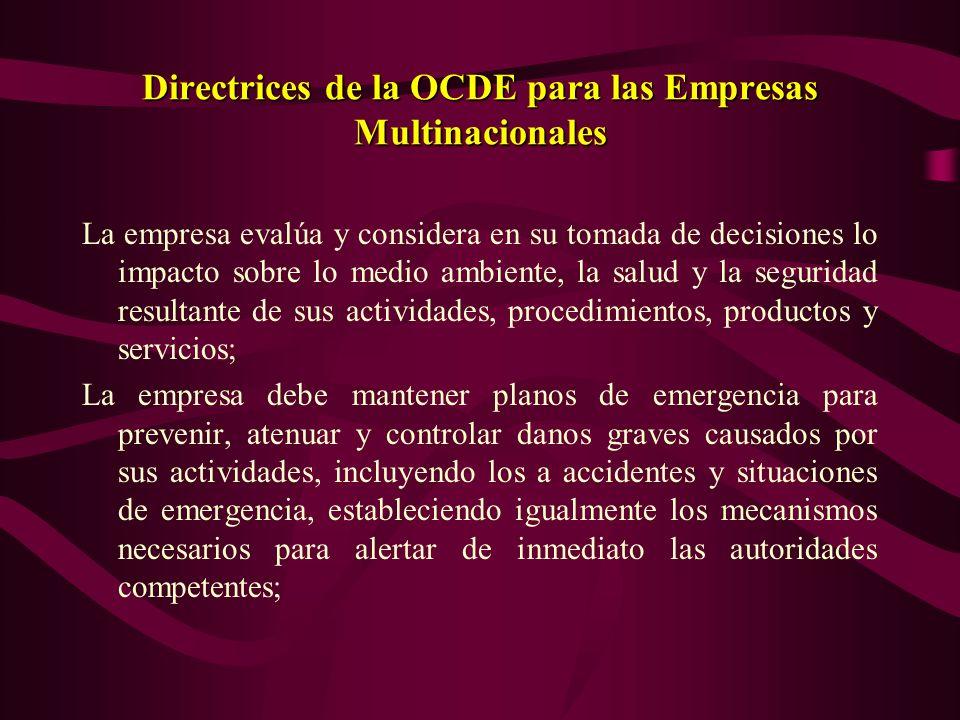 Directrices de la OCDE para las Empresas Multinacionales 3- Lo seguimiento y la verificación de los progresos alcanzados en el cumplimiento de los obj