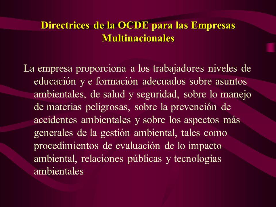 Directrices de la OCDE para las Empresas Multinacionales La empresa evalúa y considera en su tomada de decisiones lo impacto sobre lo medio ambiente,