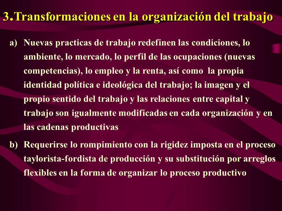 2. En el contexto del ambiente organizacional las siguientes transformaciones observanse: a) Intensificación en el proceso de globalización b) La busc