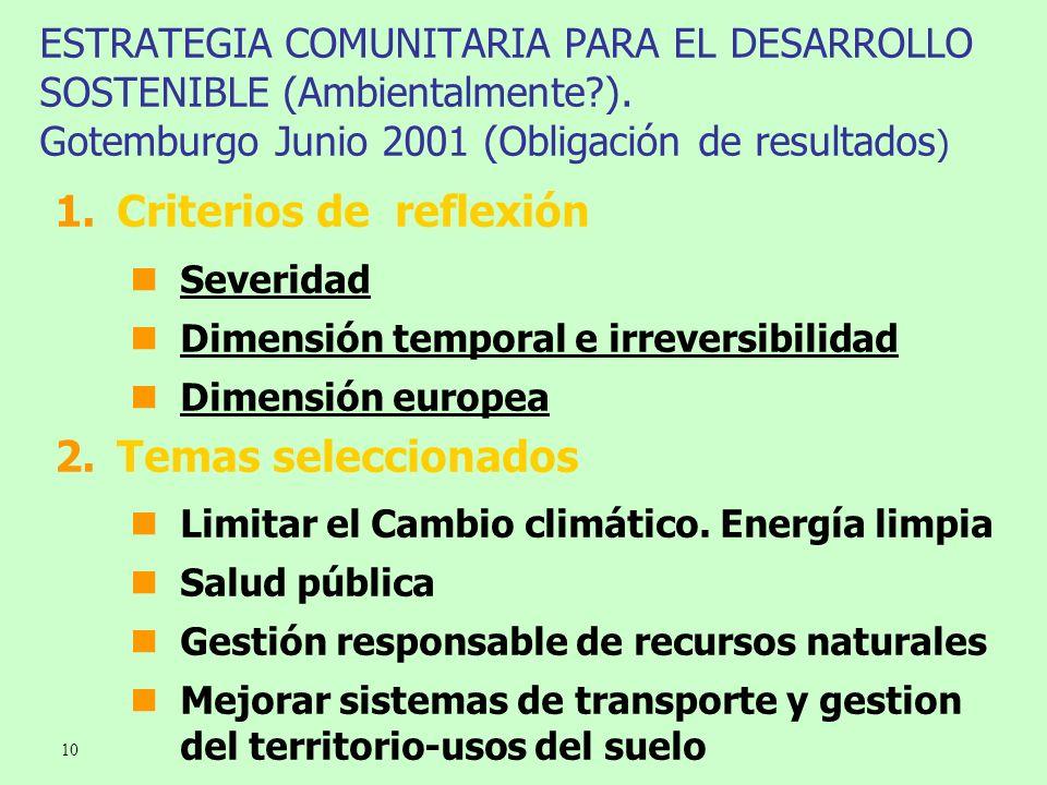 10 ESTRATEGIA COMUNITARIA PARA EL DESARROLLO SOSTENIBLE (Ambientalmente?). Gotemburgo Junio 2001 (Obligación de resultados ) 1.Criterios de reflexión