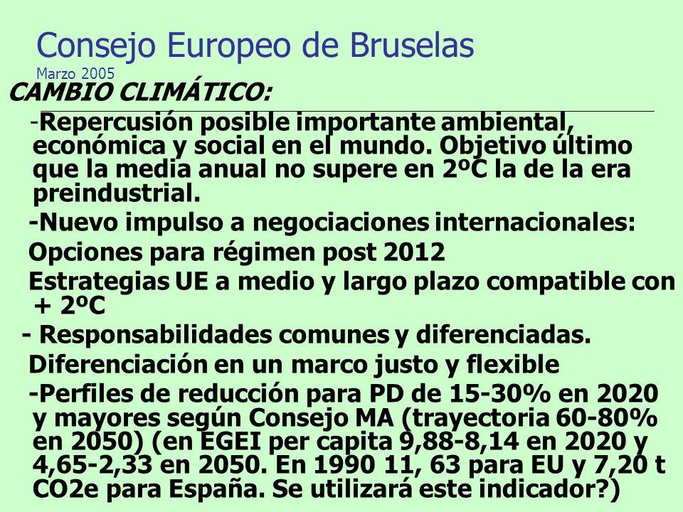 Consejo Europeo de Bruselas Marzo 2005 CAMBIO CLIMÁTICO: -Repercusión posible importante ambiental, económica y social en el mundo. Objetivo último qu
