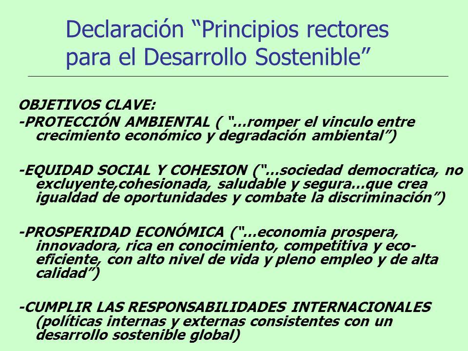 Declaración Principios rectores para el Desarrollo Sostenible OBJETIVOS CLAVE: -PROTECCIÓN AMBIENTAL ( …romper el vinculo entre crecimiento económico