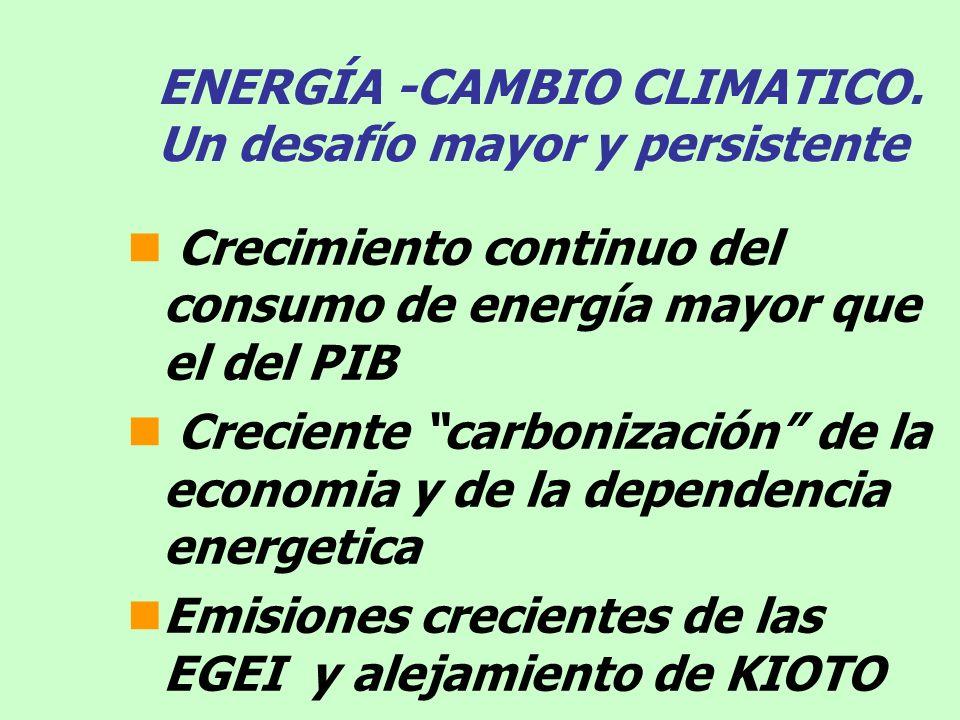 ENERGÍA -CAMBIO CLIMATICO. Un desafío mayor y persistente Crecimiento continuo del consumo de energía mayor que el del PIB Creciente carbonización de