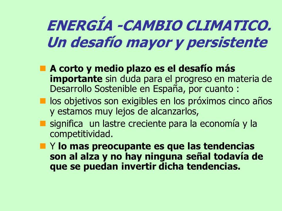 ENERGÍA -CAMBIO CLIMATICO. Un desafío mayor y persistente A corto y medio plazo es el desafío más importante sin duda para el progreso en materia de D