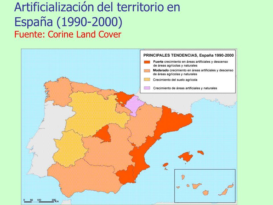 Artificialización del territorio en España (1990-2000) Fuente: Corine Land Cover