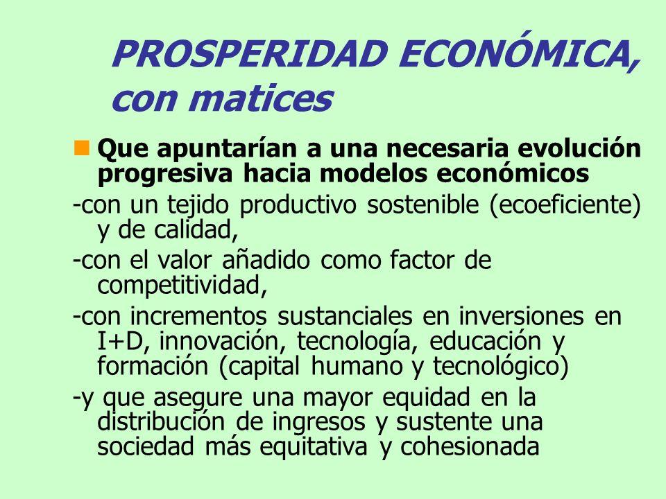 PROSPERIDAD ECONÓMICA, con matices Que apuntarían a una necesaria evolución progresiva hacia modelos económicos -con un tejido productivo sostenible (