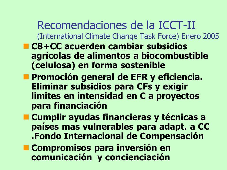 Recomendaciones de la ICCT-II (International Climate Change Task Force) Enero 2005 C8+CC acuerden cambiar subsidios agrícolas de alimentos a biocombus