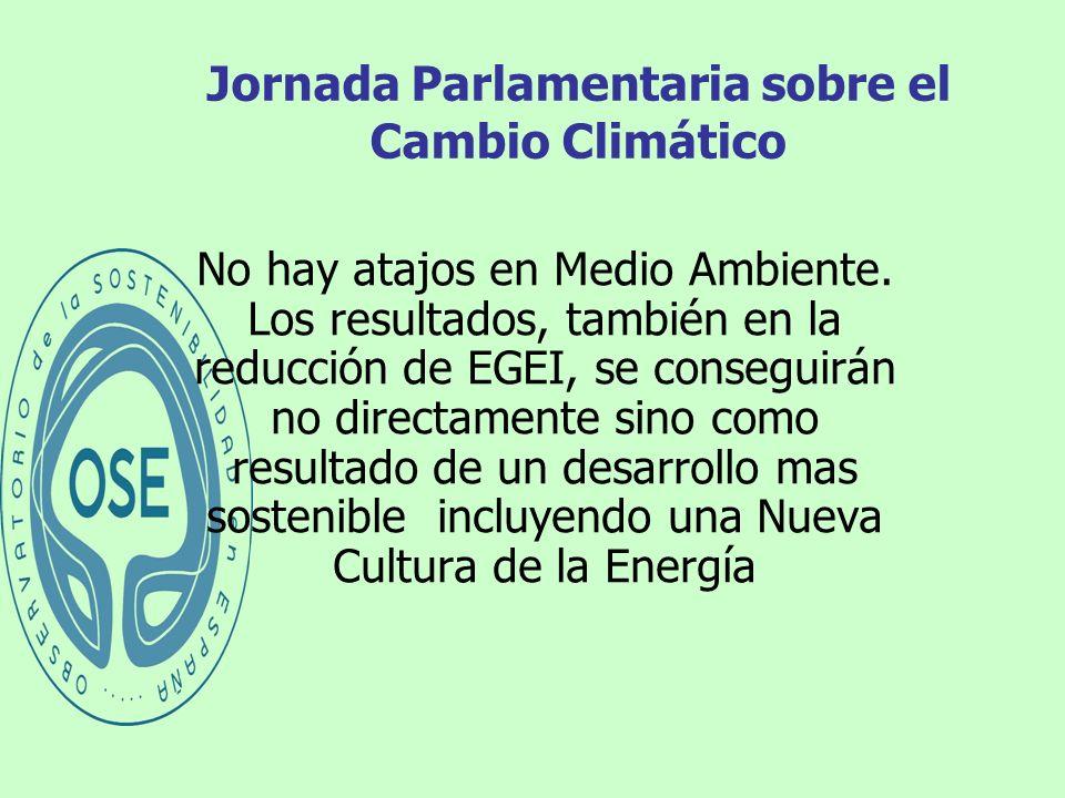 Jornada Parlamentaria sobre el Cambio Climático No hay atajos en Medio Ambiente. Los resultados, también en la reducción de EGEI, se conseguirán no di