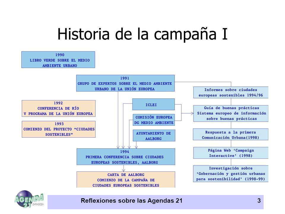 Reflexiones sobre las Agendas 213 Historia de la campaña I