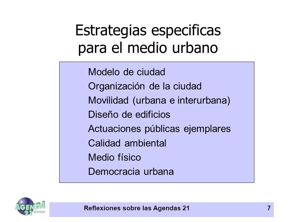 Reflexiones sobre las Agendas 217 Estrategias especificas para el medio urbano Modelo de ciudad Organización de la ciudad Movilidad (urbana e interurb