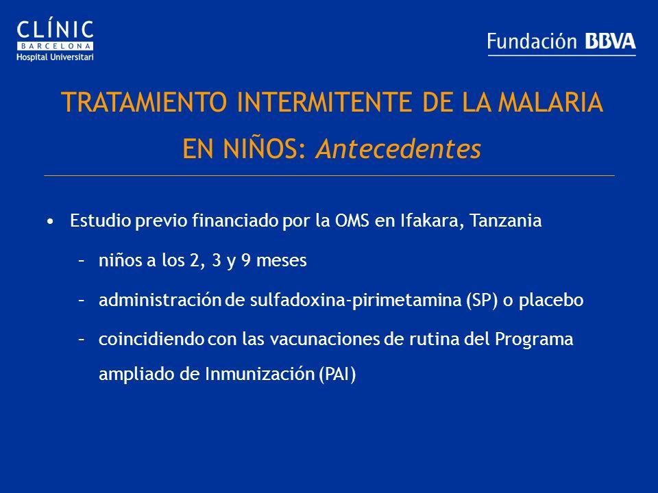 TRATAMIENTO INTERMITENTE DE LA MALARIA EN NIÑOS: Antecedentes Estudio previo financiado por la OMS en Ifakara, Tanzania –niños a los 2, 3 y 9 meses –a