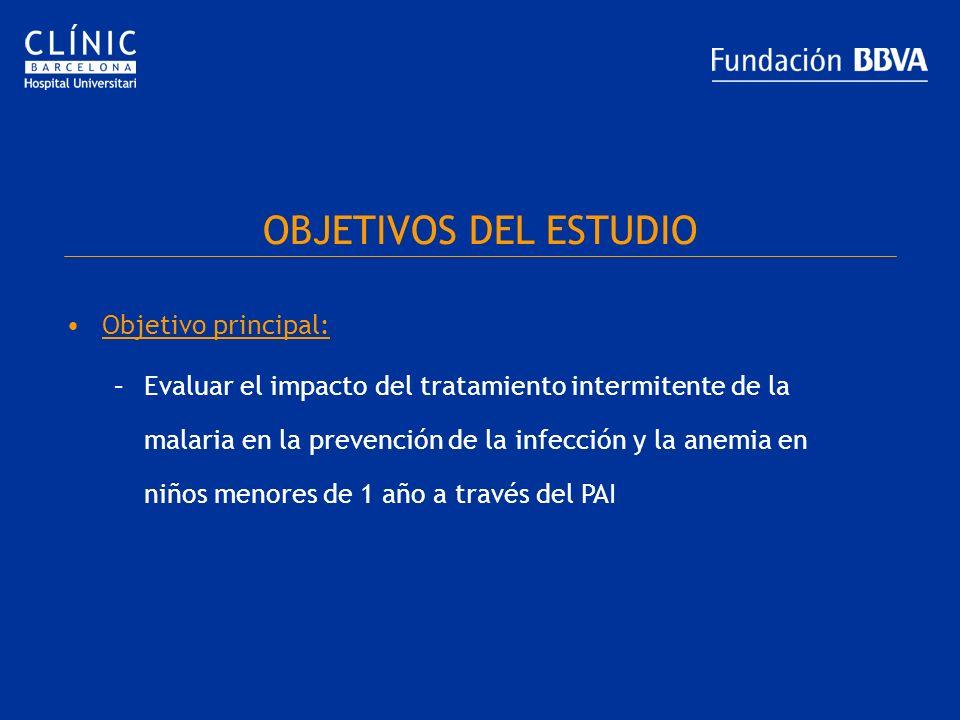 OBJETIVOS DEL ESTUDIO Objetivo principal: –Evaluar el impacto del tratamiento intermitente de la malaria en la prevención de la infección y la anemia