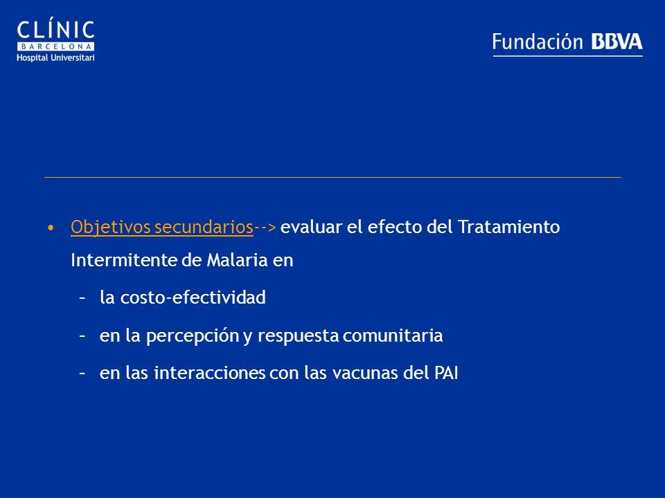 Objetivos secundarios--> evaluar el efecto del Tratamiento Intermitente de Malaria en –la costo-efectividad –en la percepción y respuesta comunitaria