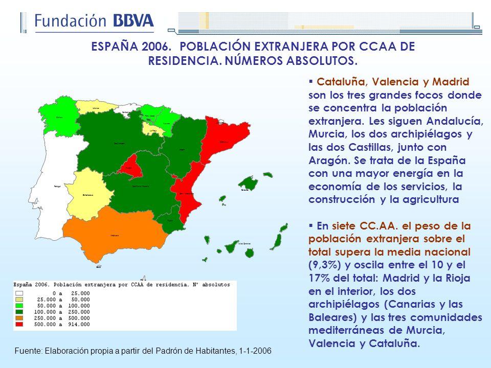 ESPAÑA 2006. POBLACIÓN EXTRANJERA POR CCAA DE RESIDENCIA. NÚMEROS ABSOLUTOS. Fuente: Elaboración propia a partir del Padrón de Habitantes, 1-1-2006 Ca