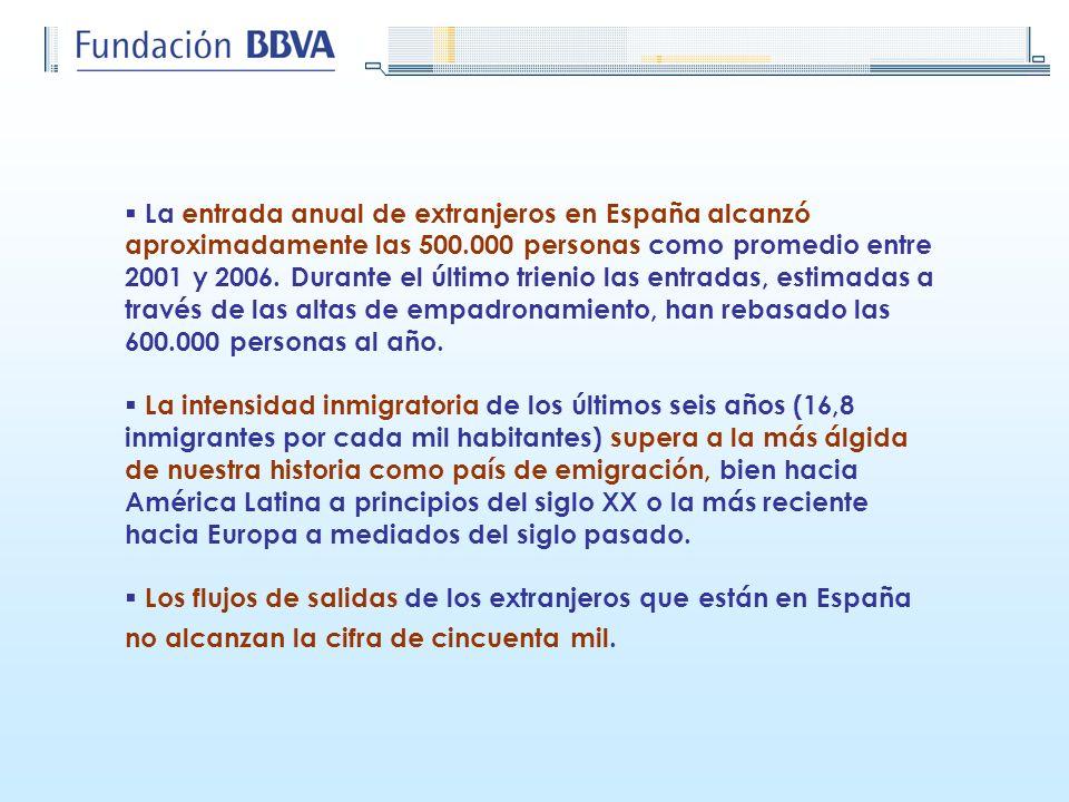 La entrada anual de extranjeros en España alcanzó aproximadamente las 500.000 personas como promedio entre 2001 y 2006. Durante el último trienio las