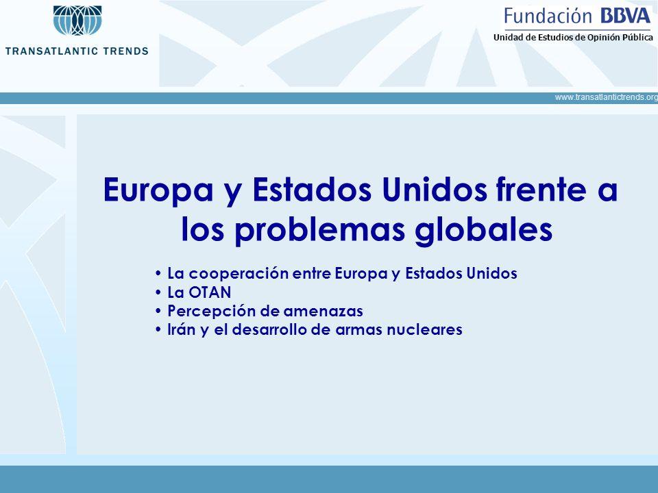 www.transatlantictrends.org Unidad de Estudios de Opinión Pública Europa y Estados Unidos frente a los problemas globales La cooperación entre Europa