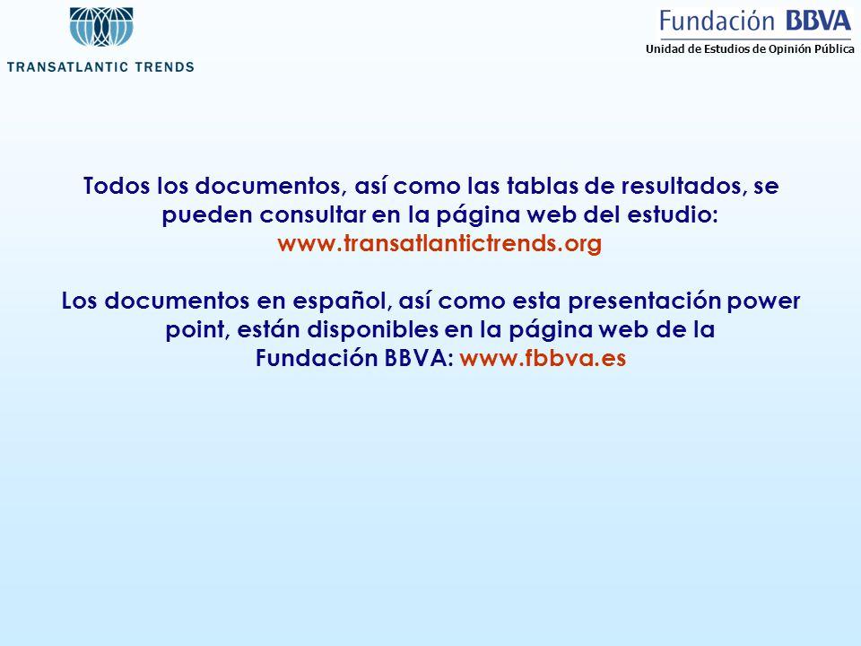 Todos los documentos, así como las tablas de resultados, se pueden consultar en la página web del estudio: www.transatlantictrends.org Los documentos