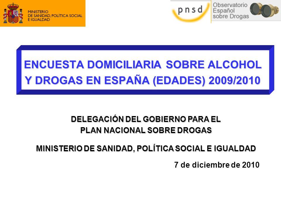 2 Introducción EDADES 2009/2010 Antecedentes Desde 1995 en el marco del Plan Nacional sobre Drogas se realiza cada dos años una Encuesta Domiciliaria sobre Alcohol y Drogas en España (EDADES) en población adulta.