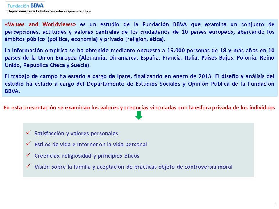 333 I. Satisfacción y valores personales Departamento de Estudios Sociales y Opinión Pública