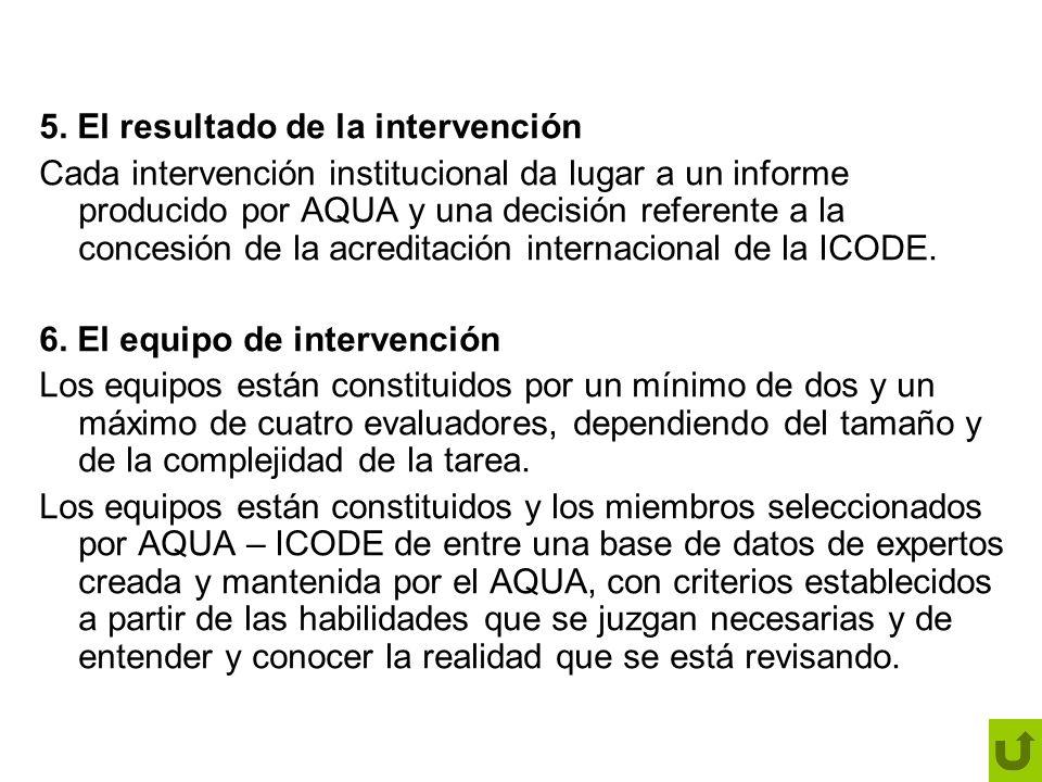 5. El resultado de la intervención Cada intervención institucional da lugar a un informe producido por AQUA y una decisión referente a la concesión de