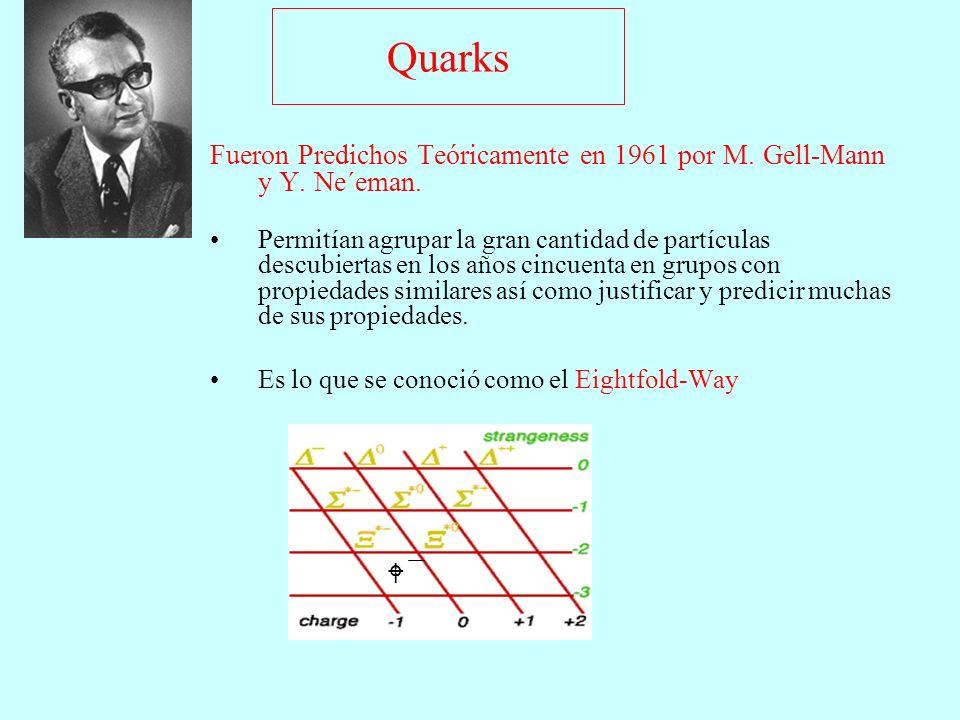 Quarks Fueron Predichos Teóricamente en 1961 por M. Gell-Mann y Y. Ne´eman. Permitían agrupar la gran cantidad de partículas descubiertas en los años