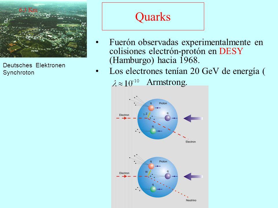 Quarks Fuerón observadas experimentalmente en colisiones electrón-protón en DESY (Hamburgo) hacia 1968. Los electrones tenían 20 GeV de energía ( Arms