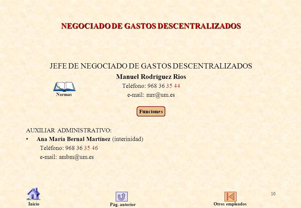 Pág. anterior Inicio 10 NEGOCIADO DE GASTOS DESCENTRALIZADOS JEFE DE NEGOCIADO DE GASTOS DESCENTRALIZADOS Manuel Rodríguez Rios Teléfono: 968 36 35 44