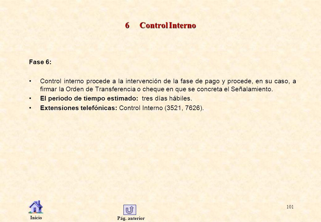 Pág. anterior Inicio 101 6 Control Interno Fase 6: Control interno procede a la intervención de la fase de pago y procede, en su caso, a firmar la Ord