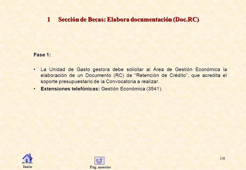 Pág. anterior Inicio 106 1 Sección de Becas: Elabora documentación (Doc.RC) Fase 1: La Unidad de Gasto gestora debe solicitar al Área de Gestión Econó
