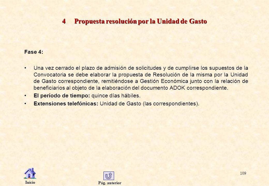 Pág. anterior Inicio 109 4 Propuesta resolución por la Unidad de Gasto Fase 4: Una vez cerrado el plazo de admisión de solicitudes y de cumplirse los