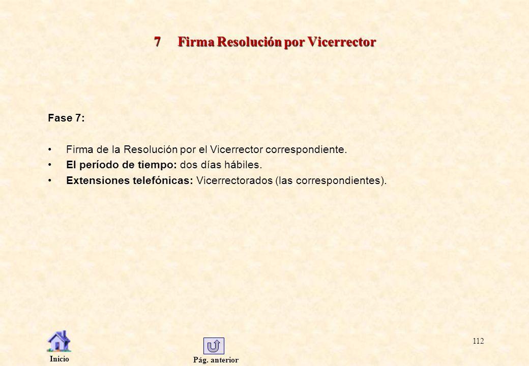 Pág. anterior Inicio 112 7 Firma Resolución por Vicerrector Fase 7: Firma de la Resolución por el Vicerrector correspondiente. El período de tiempo: d