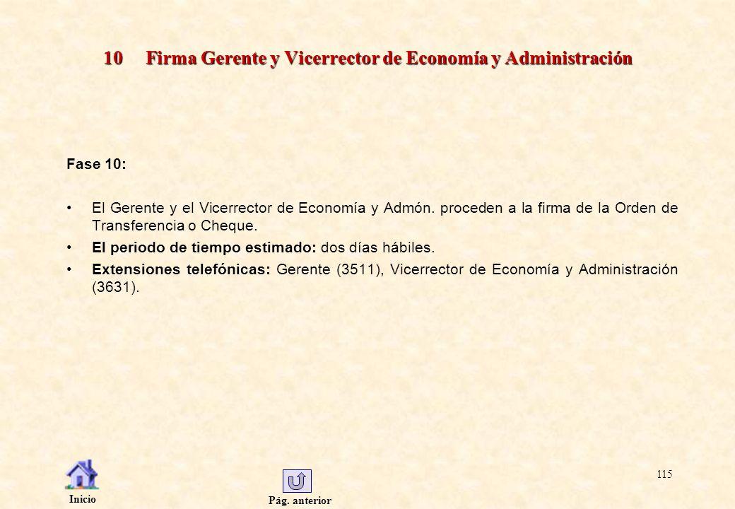 Pág. anterior Inicio 115 10 Firma Gerente y Vicerrector de Economía y Administración Fase 10: El Gerente y el Vicerrector de Economía y Admón. procede