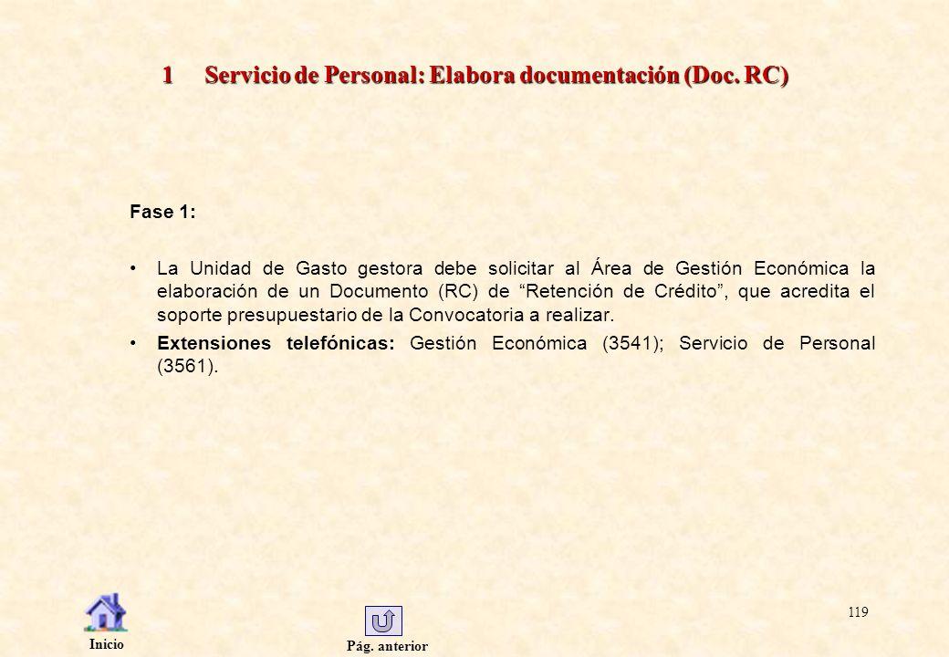 Pág. anterior Inicio 119 1 Servicio de Personal: Elabora documentación (Doc. RC) Fase 1: La Unidad de Gasto gestora debe solicitar al Área de Gestión