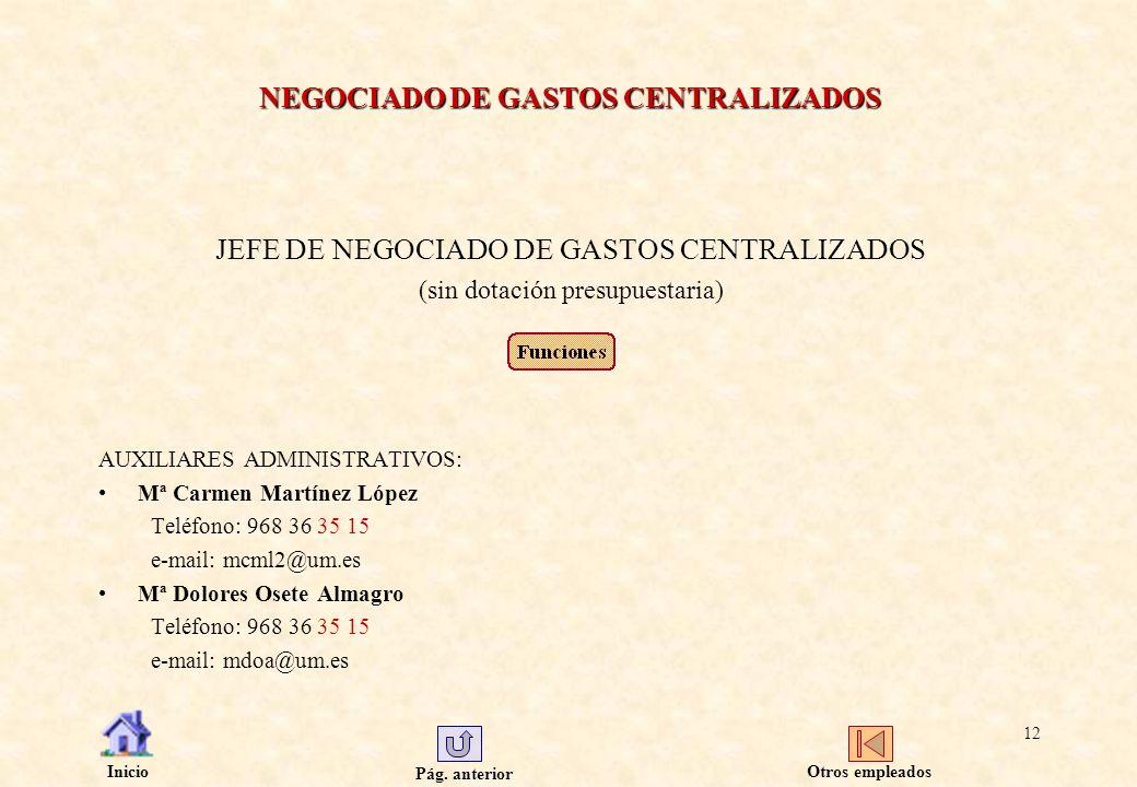 Pág. anterior Inicio 12 NEGOCIADO DE GASTOS CENTRALIZADOS JEFE DE NEGOCIADO DE GASTOS CENTRALIZADOS (sin dotación presupuestaria) AUXILIARES ADMINISTR
