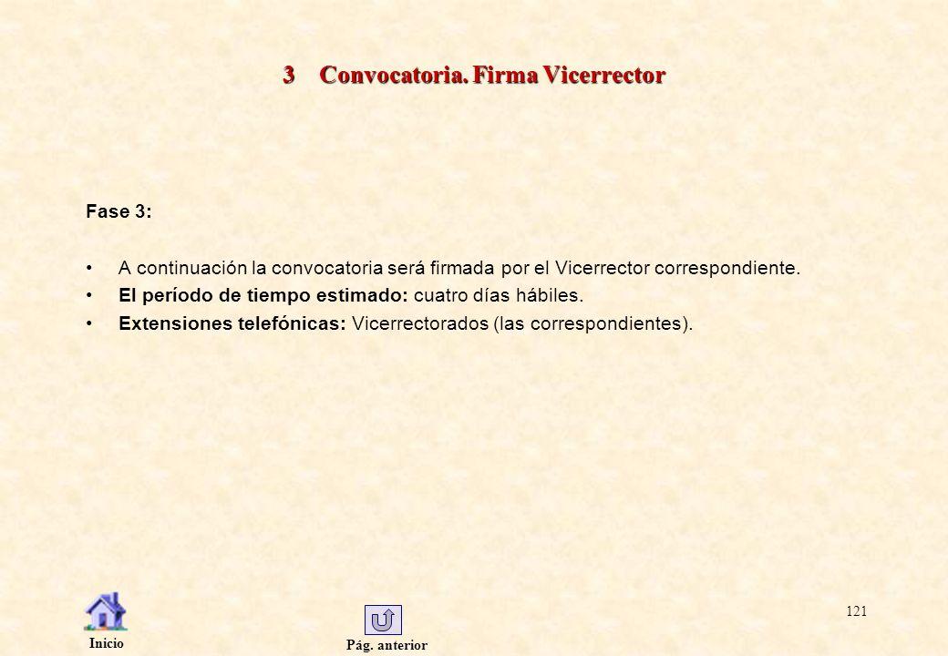 Pág. anterior Inicio 121 3 Convocatoria. Firma Vicerrector Fase 3: A continuación la convocatoria será firmada por el Vicerrector correspondiente. El