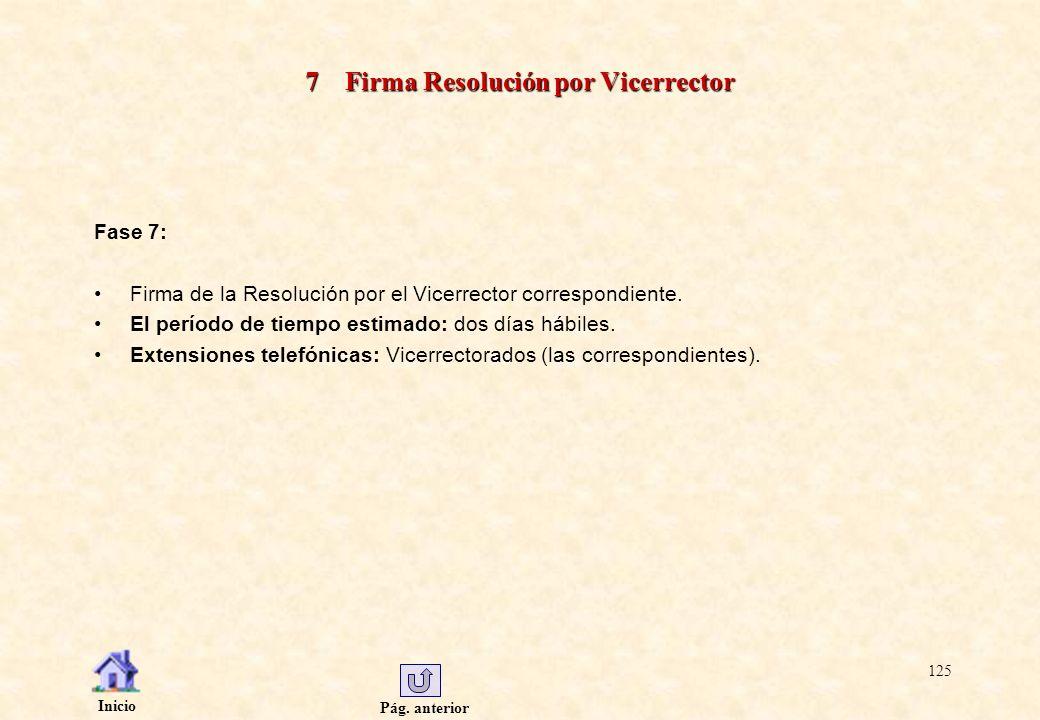 Pág. anterior Inicio 125 7 Firma Resolución por Vicerrector Fase 7: Firma de la Resolución por el Vicerrector correspondiente. El período de tiempo es